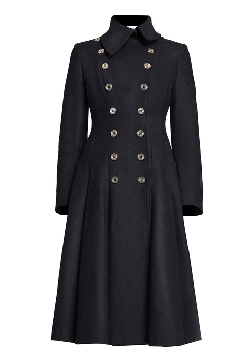 Black, double-breasted, military coat detailed with gold buttons