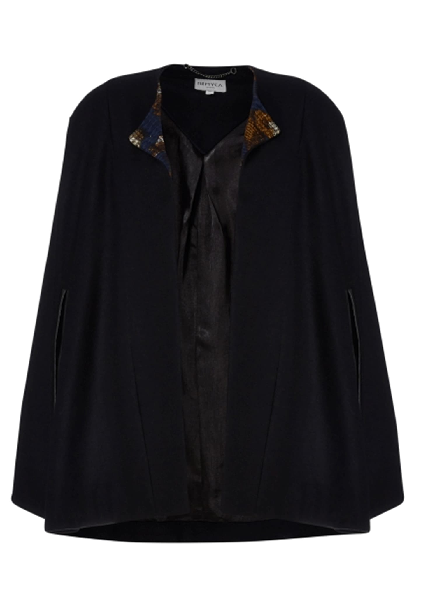 Navy cape, fully lined with printed jacquard panel on the inside