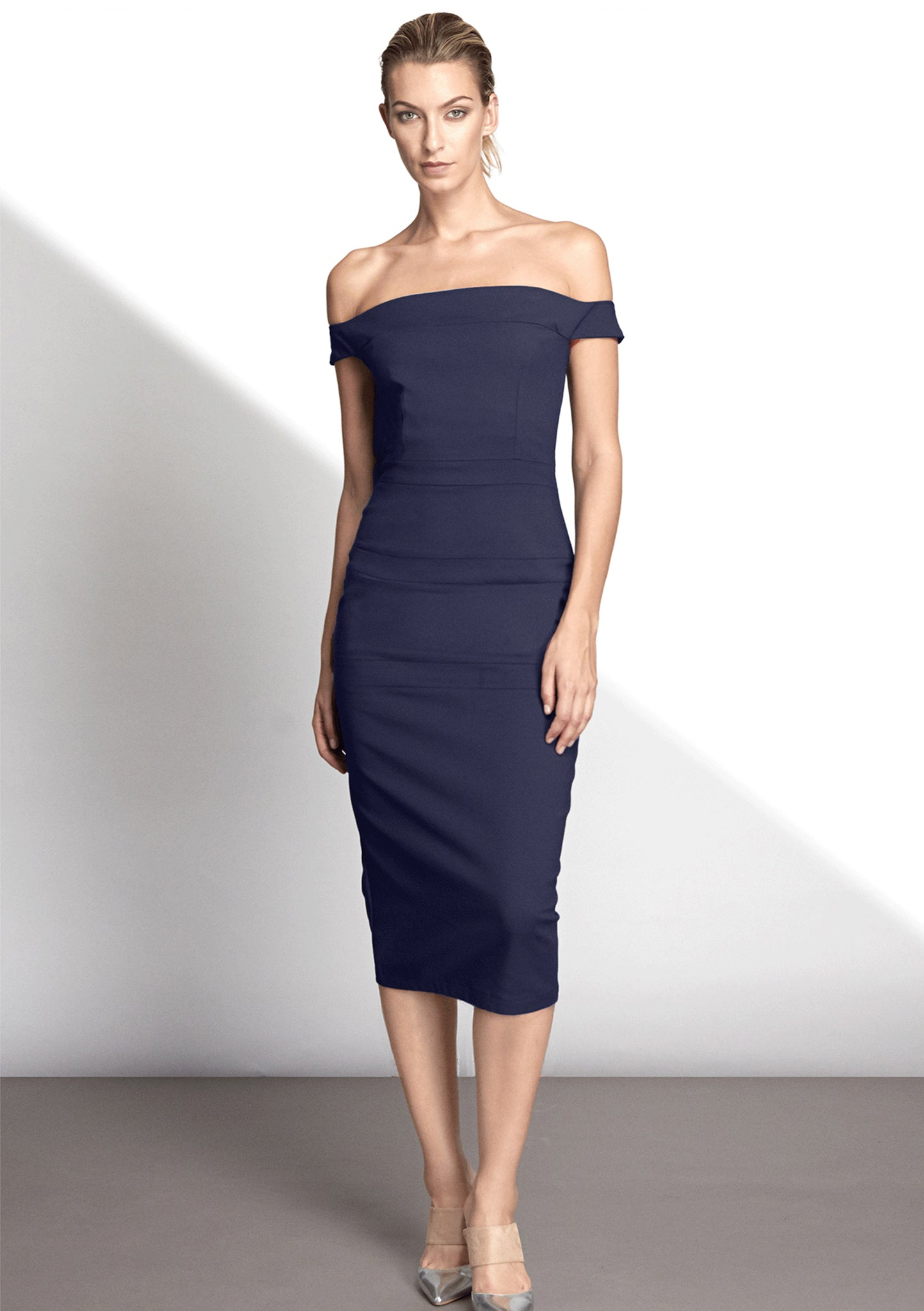 Emilie Navy Stretch Cady Dress - HEMYCA London
