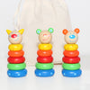 Wooden Animal Stacking Toy With Personalised Bag