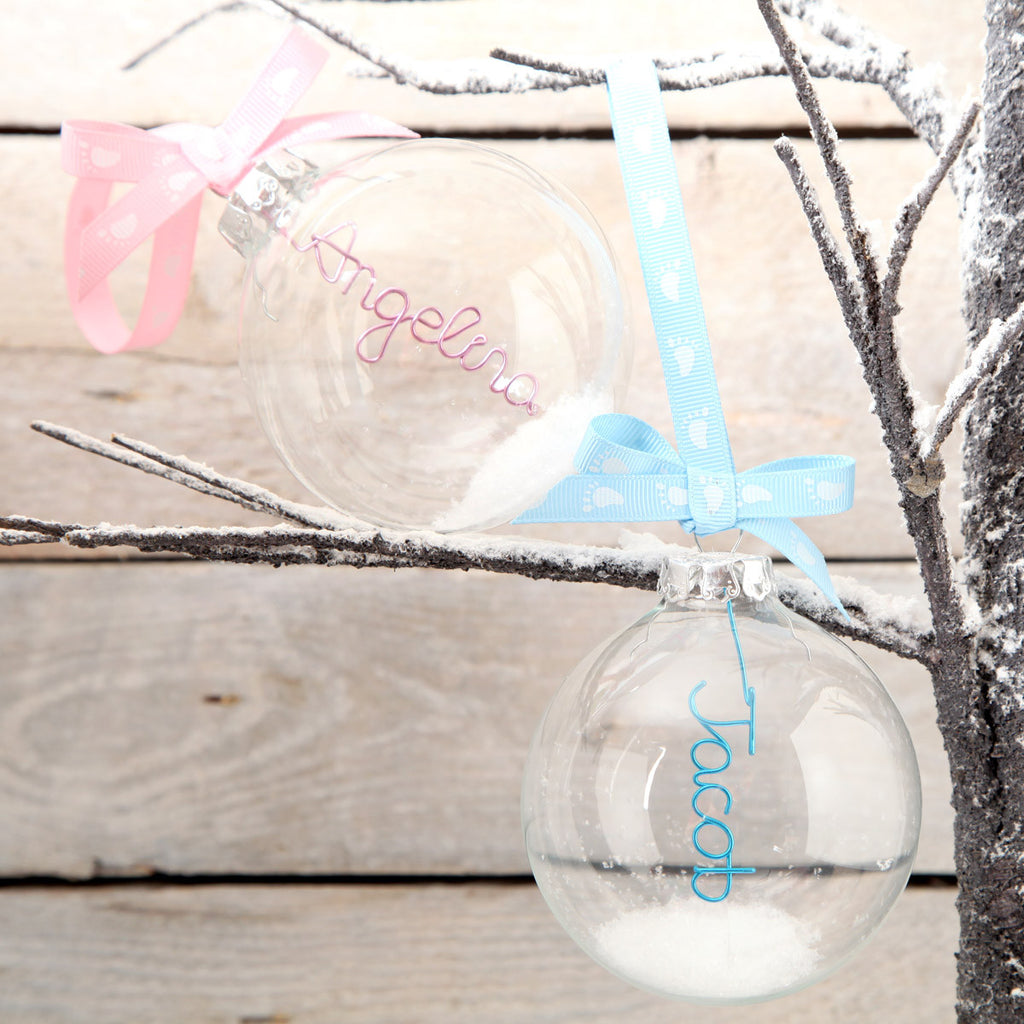 Personalised Glass New Baby Bauble