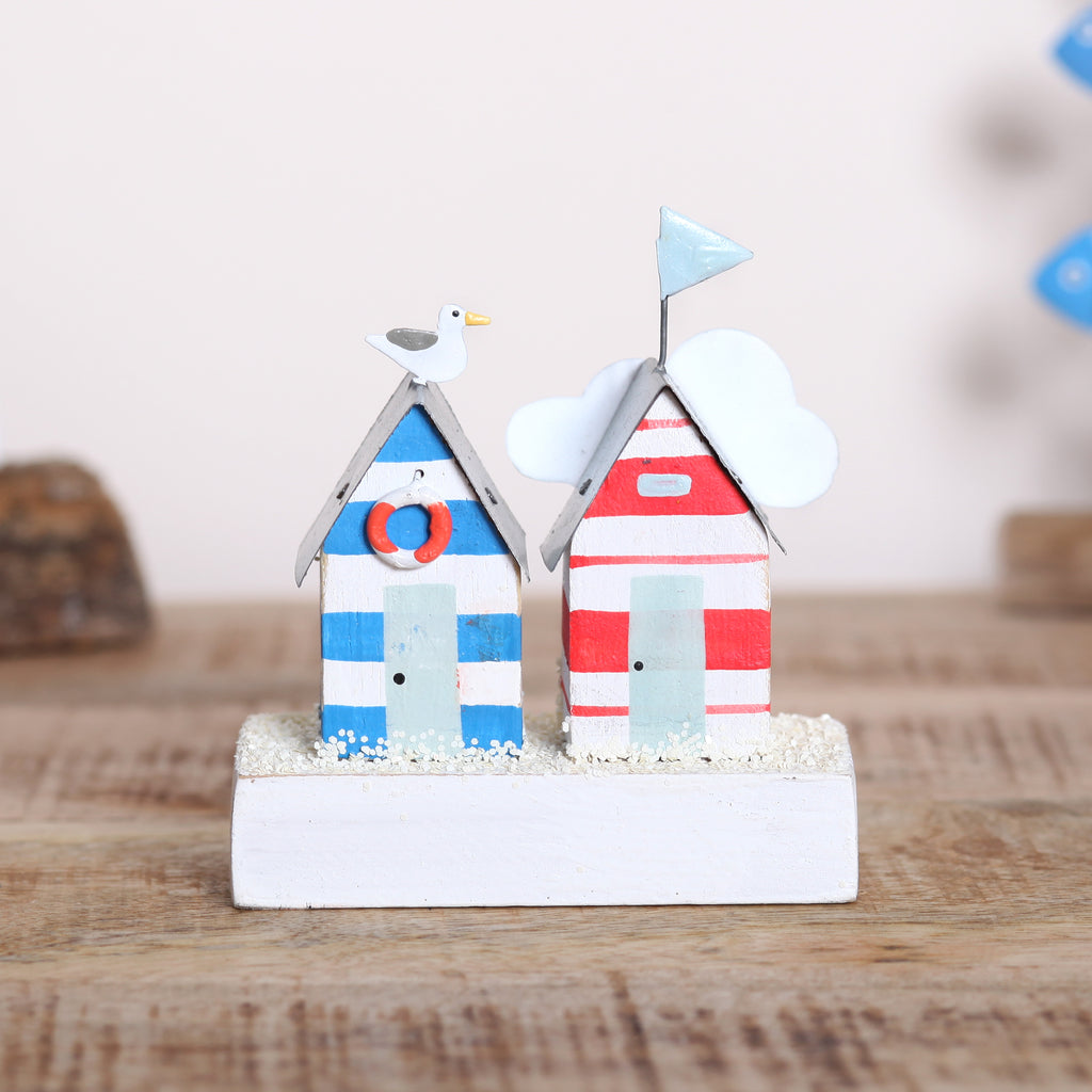 Two Coastal Beach Huts On Block Decoration