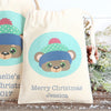 Personalised Christmas Bear Cotton Bags