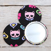 Glitter Cat Or Bow Fabric Handbag Mirror And Pouch