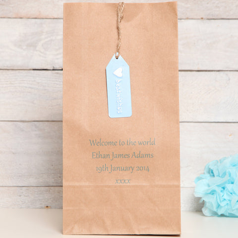 New Baby Boy Personalised Gift Bag