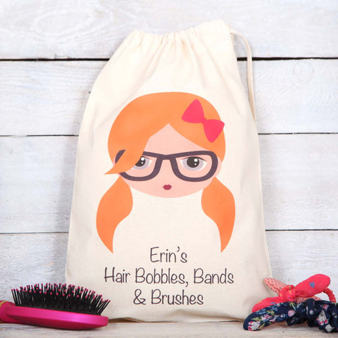 Girls Personalised Hair Bobbles And Accessory Bag