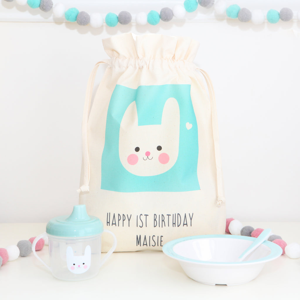Bunny Design Breakfast Set And Cotton Bag
