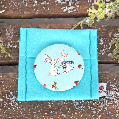 Christmas Kissing Bunny Fabric Handbag Mirror