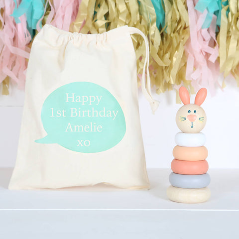 Wooden Bunny Rabbit Stacking Toy With Personalised Bag