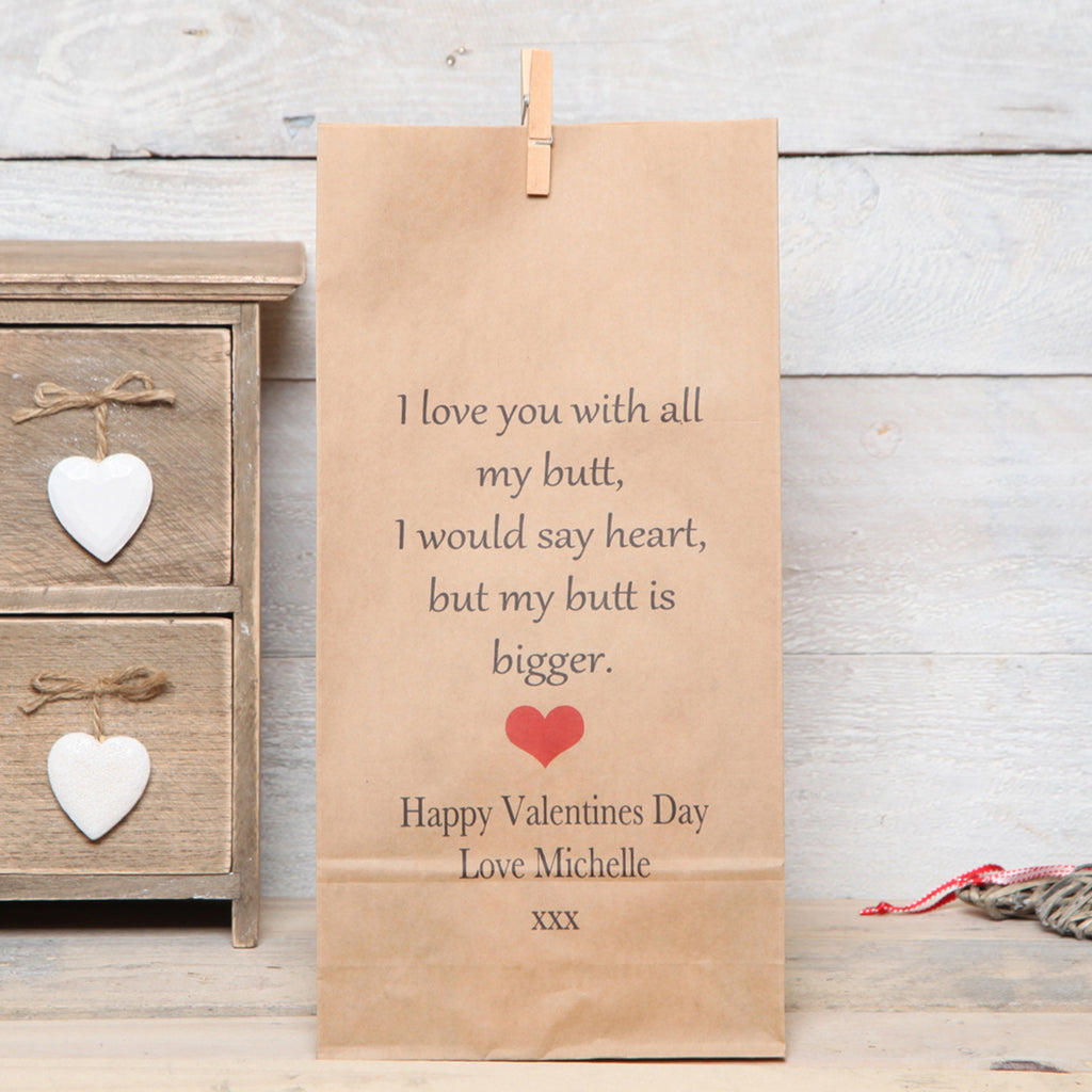 Personalised Humorous Valentines Gift Bag