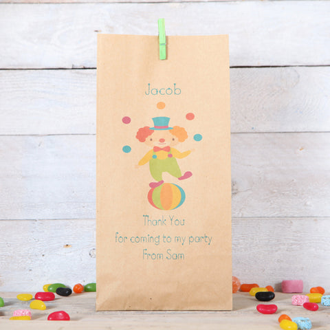 Circus Clown Personalised Party bags