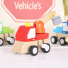 Three Wooden Construction Vehicles And Personalised Bag