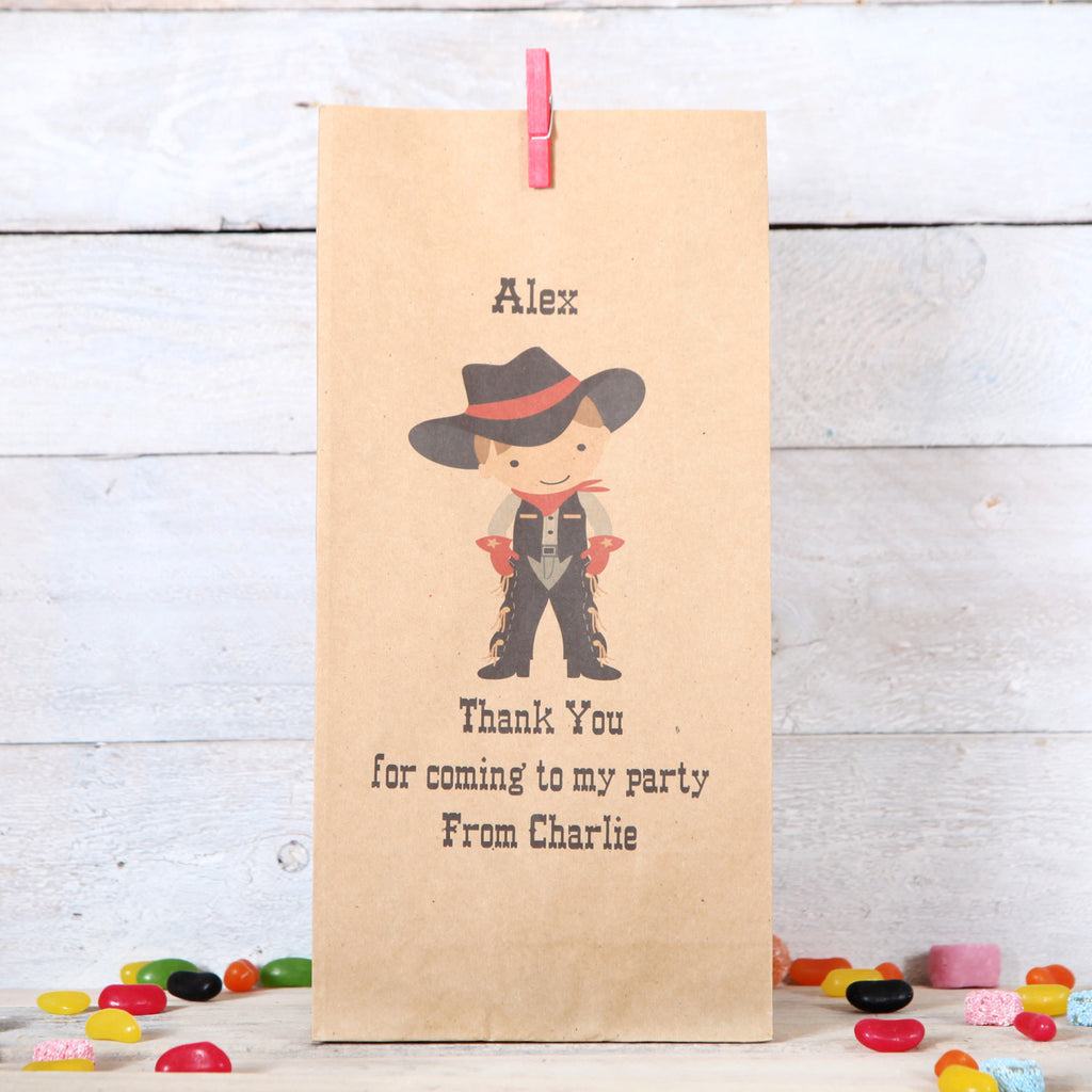 Personalised Cowboy Party Bags