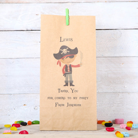 Personalised Boy Pirate Party Bags, Dark