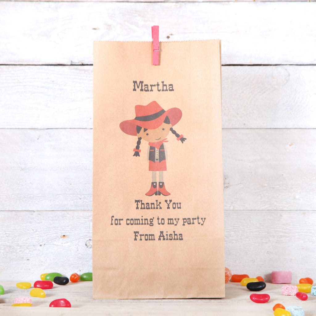 Personalised Cowgirl Party Bags, Dark