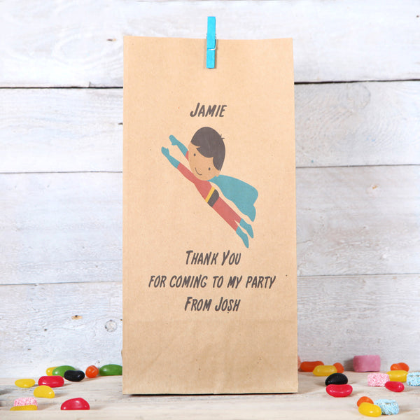 Personalised Flying Superhero Party Bags, Dark