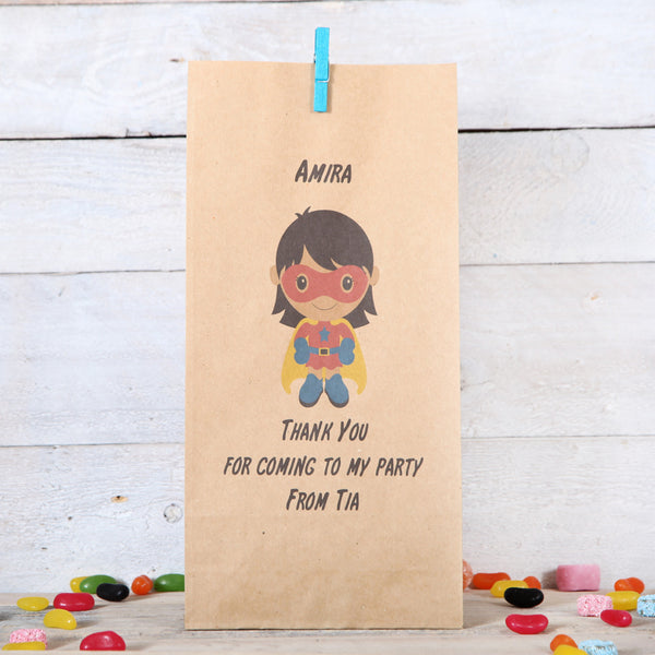 Personalised Girl Superhero Party Bags, Dark