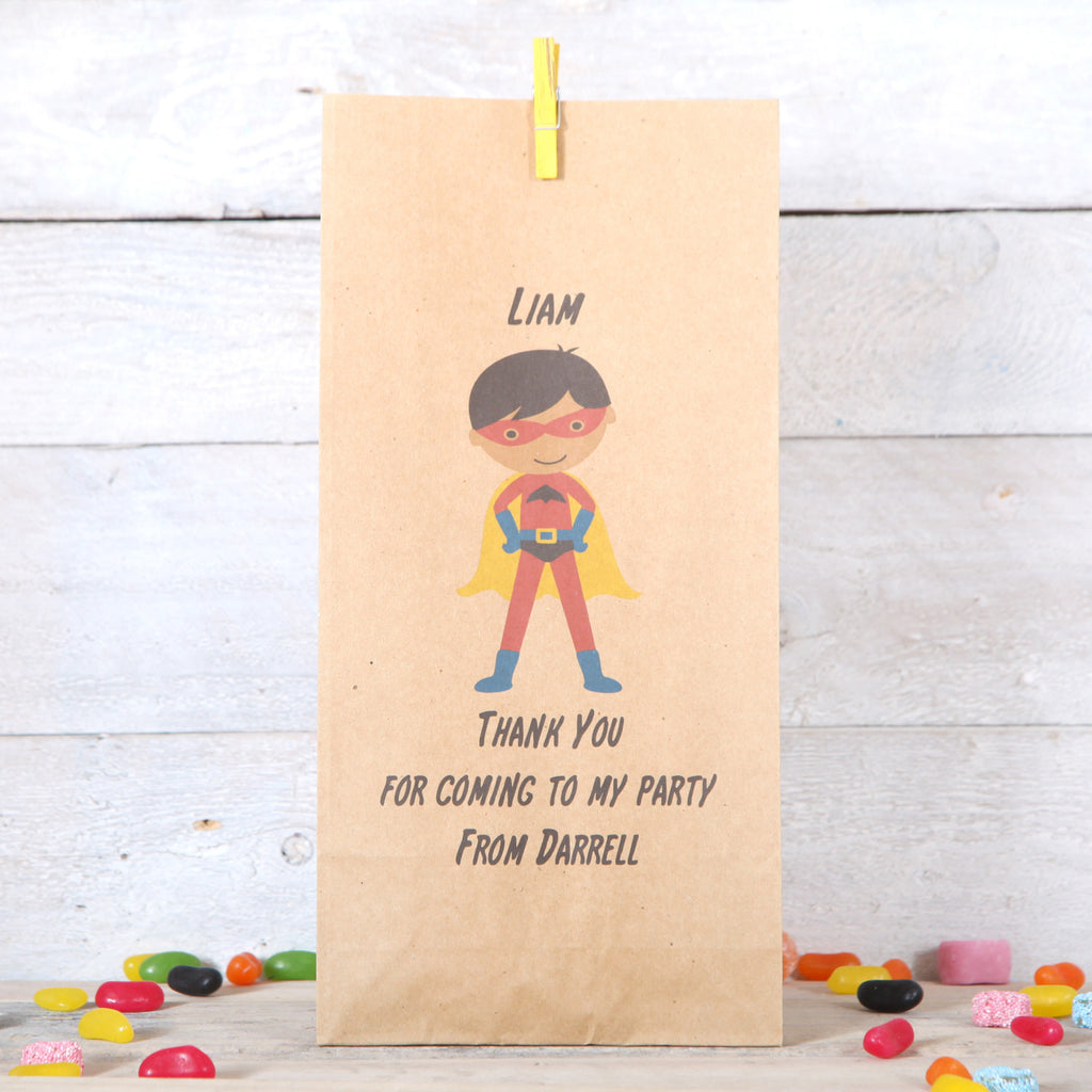 Personalised Boy Superhero Party Bags, Dark