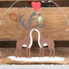 Christmas Kissing Deer On Driftwood Hanging Decoration