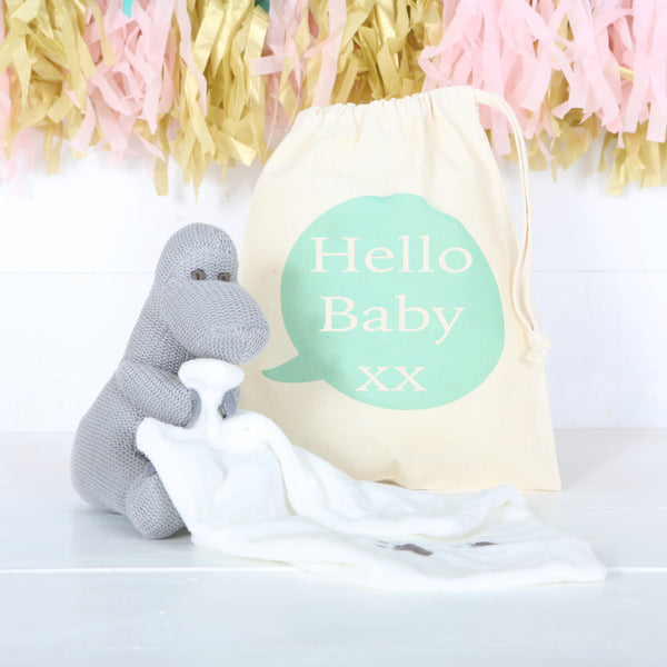 Grey Dinosaur Comforter With Personalised Bag