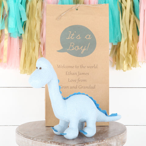 Blue Diplodocus Dinosaur Rattle + Personalised Gift Bag