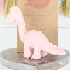 Personalised Gift Bag + Pink Diplodocus Rattle Dinosaur