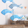 Five Fish On A Driftwood Block Decoration