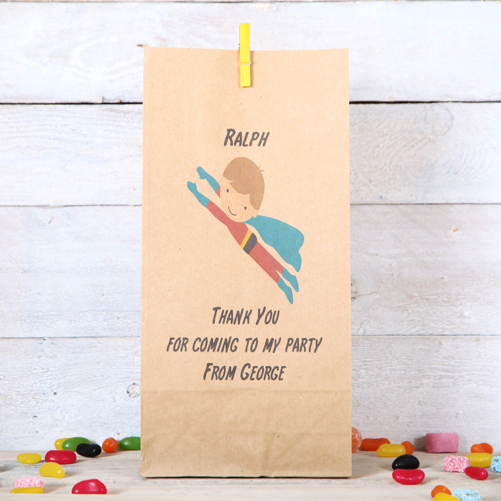 Personalised Flying Superhero Party Bags