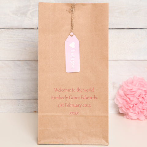 New Baby Girl Personalised Gift Bag