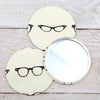 Glasses Print Handbag Mirror With Pouch, 2 sizes