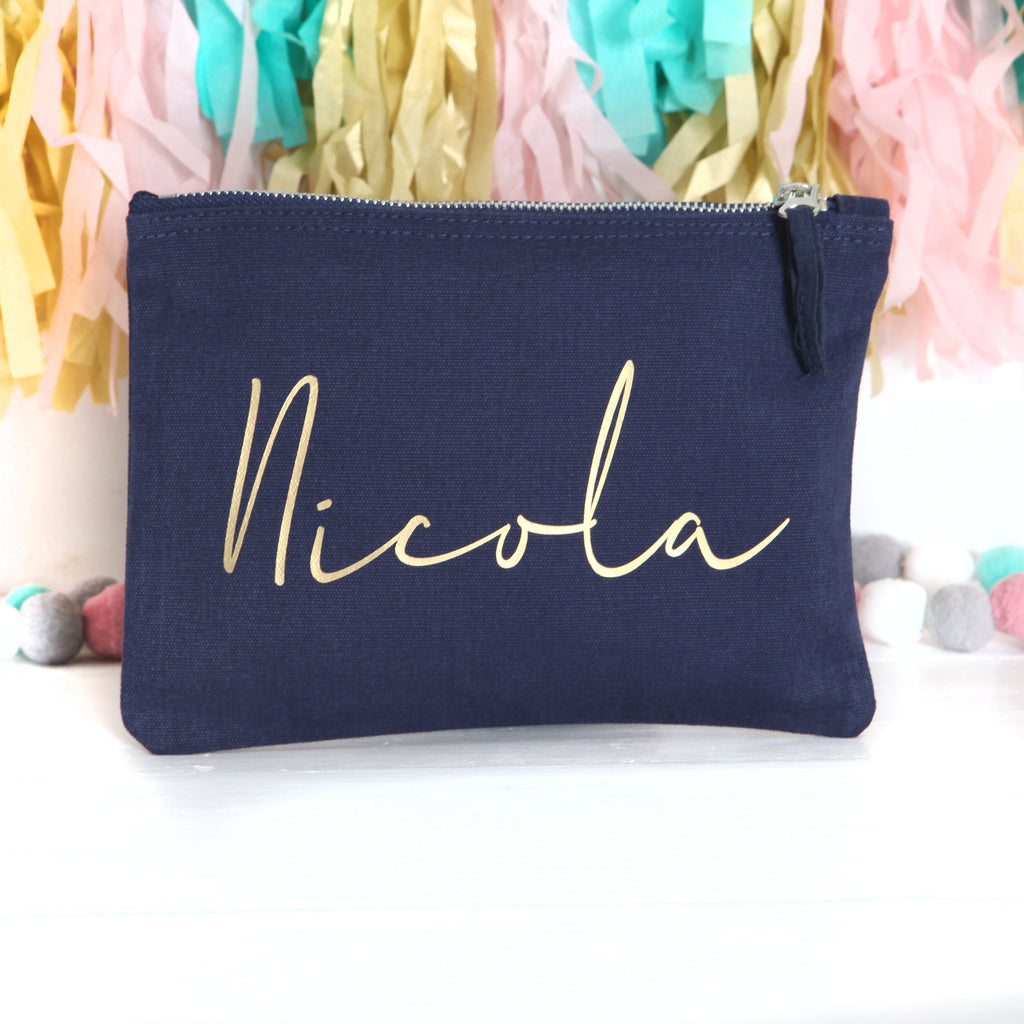 Personalised Navy Pouch With Gold Lettering