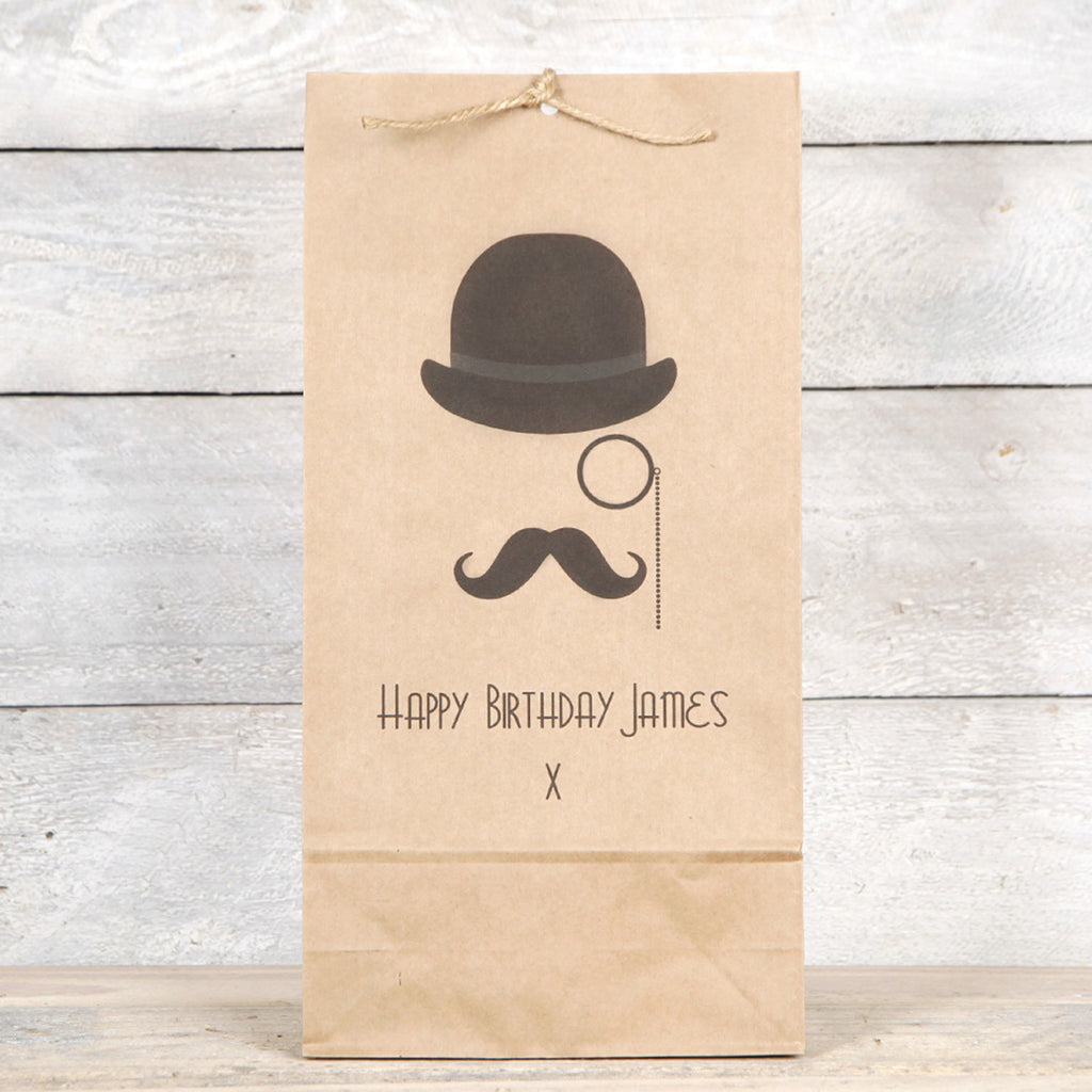 Monocle, Hat And Moustache Mens Gift Bag