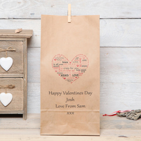 Personalised Love Heart Valentine's Gift Bag