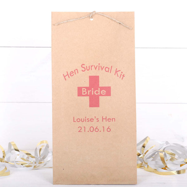 Hen Survival Kit Personalised Hen Party, Favour Bags