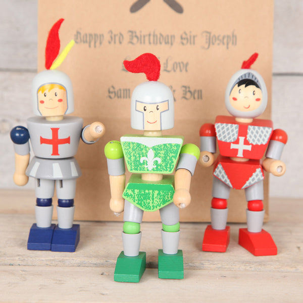 Three Wooden Knights And Personalised Gift Bag