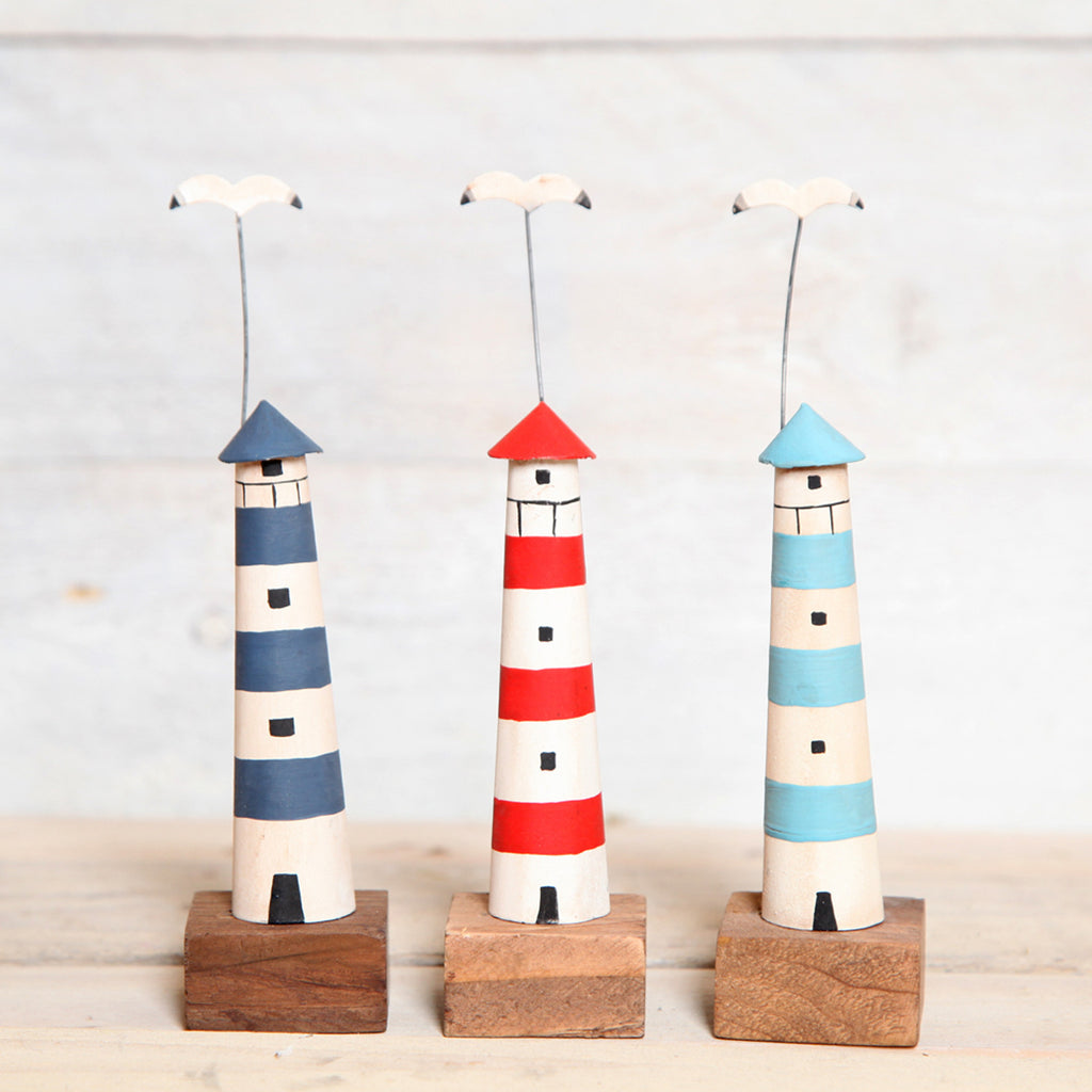 Wooden Lighthouse On Block Decoration