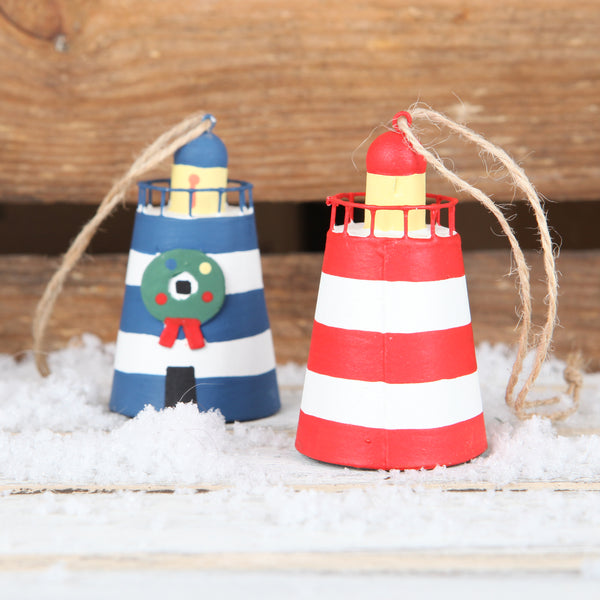 Tin Lighthouse Christmas Tree Decoration Blue Or Red