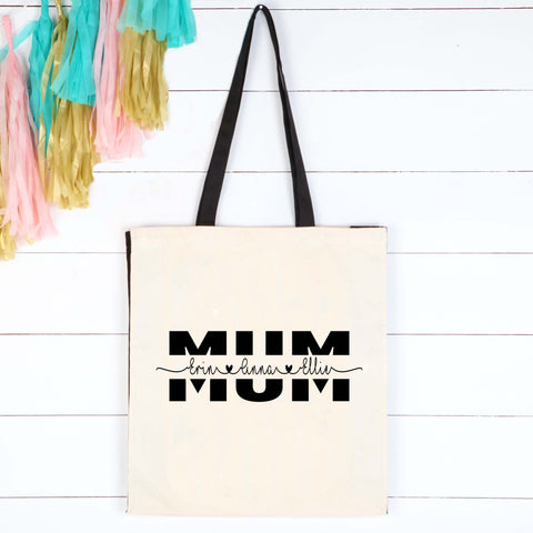 Personalised Mum Tote Shopper Bag, Mother's Day