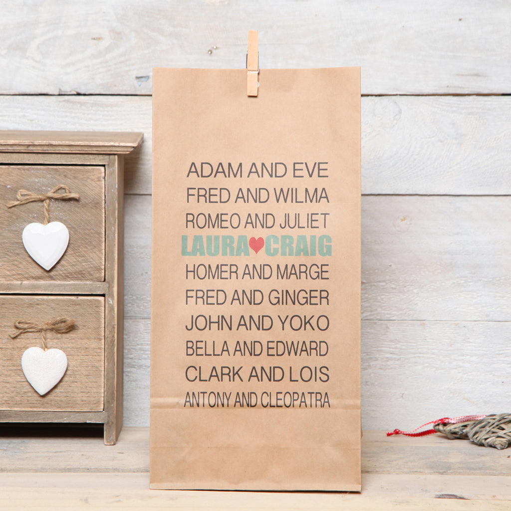Personalised Couples Names Gift Bag