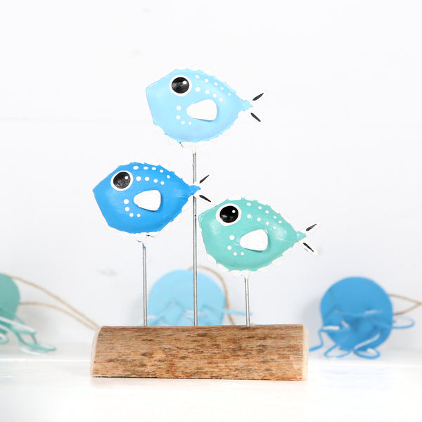 Trio Of Puffer Fish Block Decoration