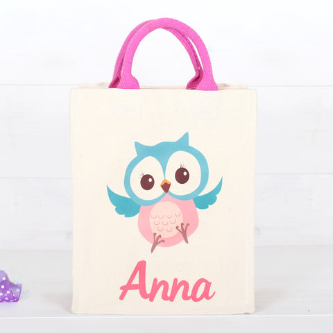 Personalised Girls Owl Canvas Bag With Rope Handles