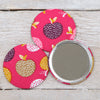 Pink Apple Fabric Handbag Mirror