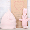 Organic Pink Bunny Rattle and Baby Hat