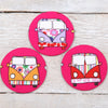 Pink Camper Van Handbag Mirror With Pouch