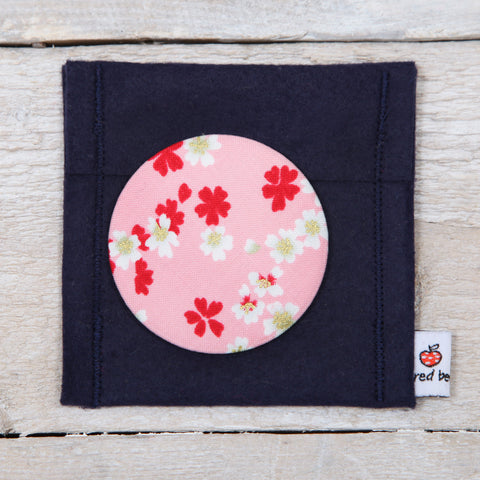 Pink Cherry Blosson Fabric Mirror And Pouch