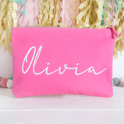 Personalised Pink Pouch With White Glitter Lettering