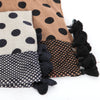 Polka Dot Fringed Infinity Scarf, Brown Or Dark Navy