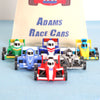 Three Toy Race Cars With Personalised Cotton Bag