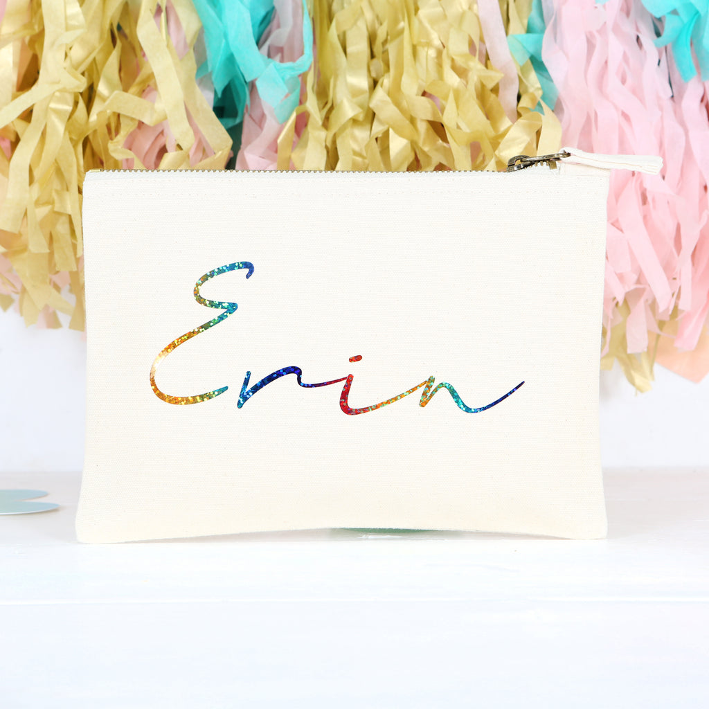 Personalised Accessory Pouch Bag With Rainbow Name