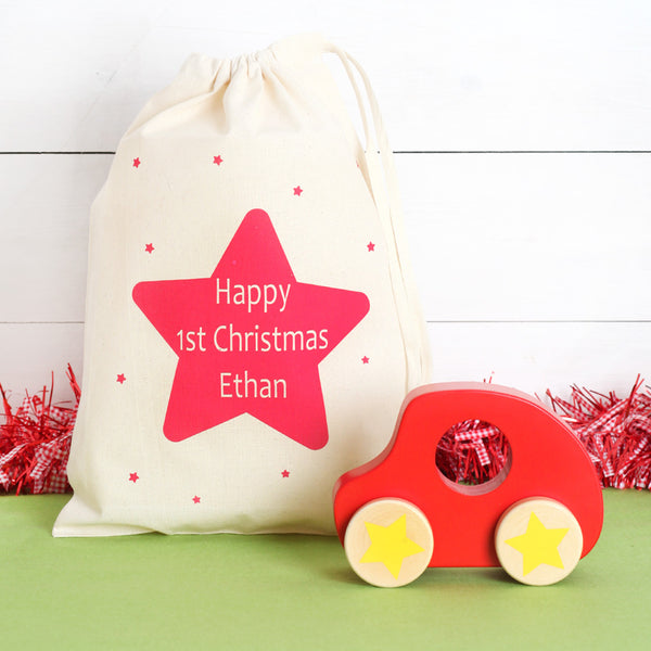 Push Along Car And Personalised Christmas Gift Bag